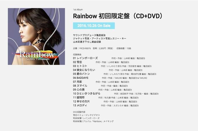 【山本彩】「Rainbow」全楽曲タイトルと作詞作曲陣が公開!10/7(金)22時〜LINELIVE生放送!