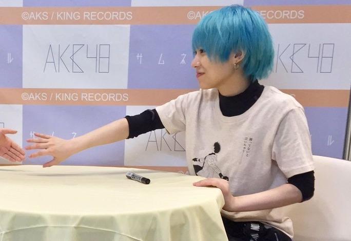 【NMB48】4/15幕張メッセ大写真会現地画像。百花の青髪がきれいな色ですw