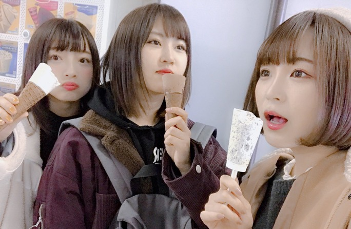 【東由樹/古賀成美/三田麻央】三人でヨーグルトの工場見学に。楽しそう。