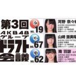 【NMB48】第3回ドラフト会議二巡目指名メンバー「N・河野奈々帆 M・山崎亜美瑠 BⅡ・南羽諒」