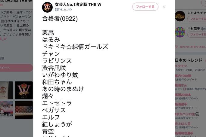 【渋谷凪咲】なぎさが「THE W 2018」の一回戦突破。