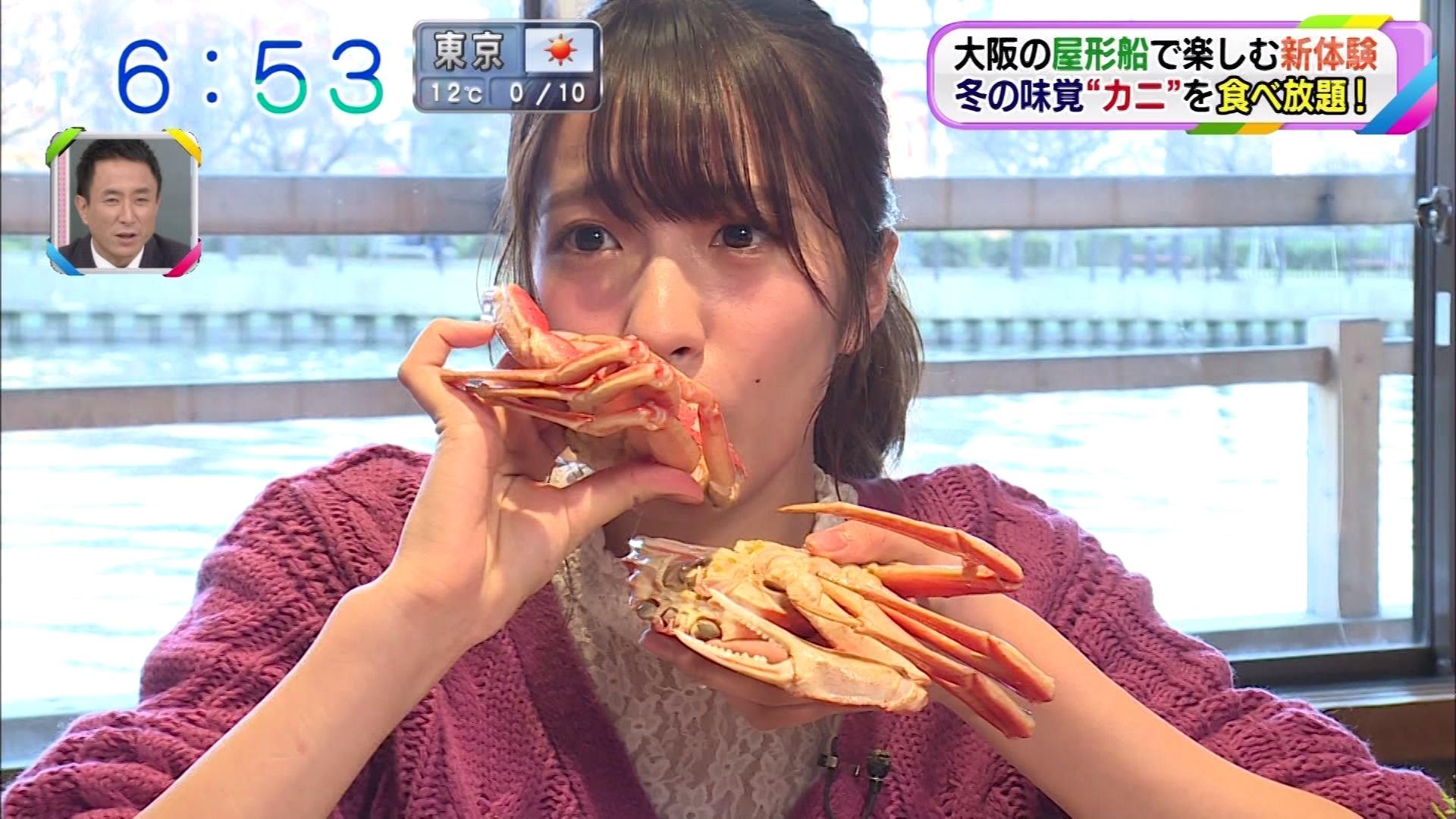 【小嶋花梨】こじりん出演「おはよう朝日です」キャプ画像。初リポートは大阪屋形船でカニ