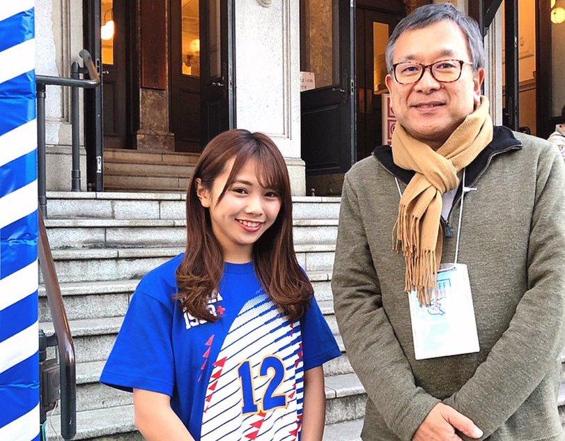 【磯佳奈江】いそちゃん、ヨコハマ・フットボール映画祭でJリーグ・村井チェアマンにご挨拶。