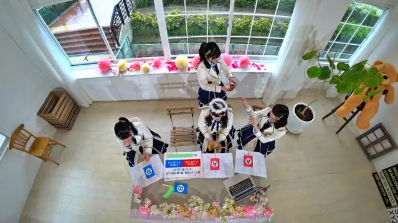 【泉綾乃/大澤藍/大段舞依/出口結菜】新YNN NMB48 CHANNEL生配信「花見の泉」キャプ画像。