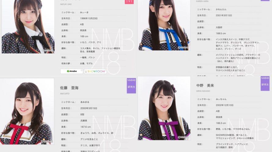 【NMB48】メンバープロフィールの身長が更新。0.1センチまで記載。