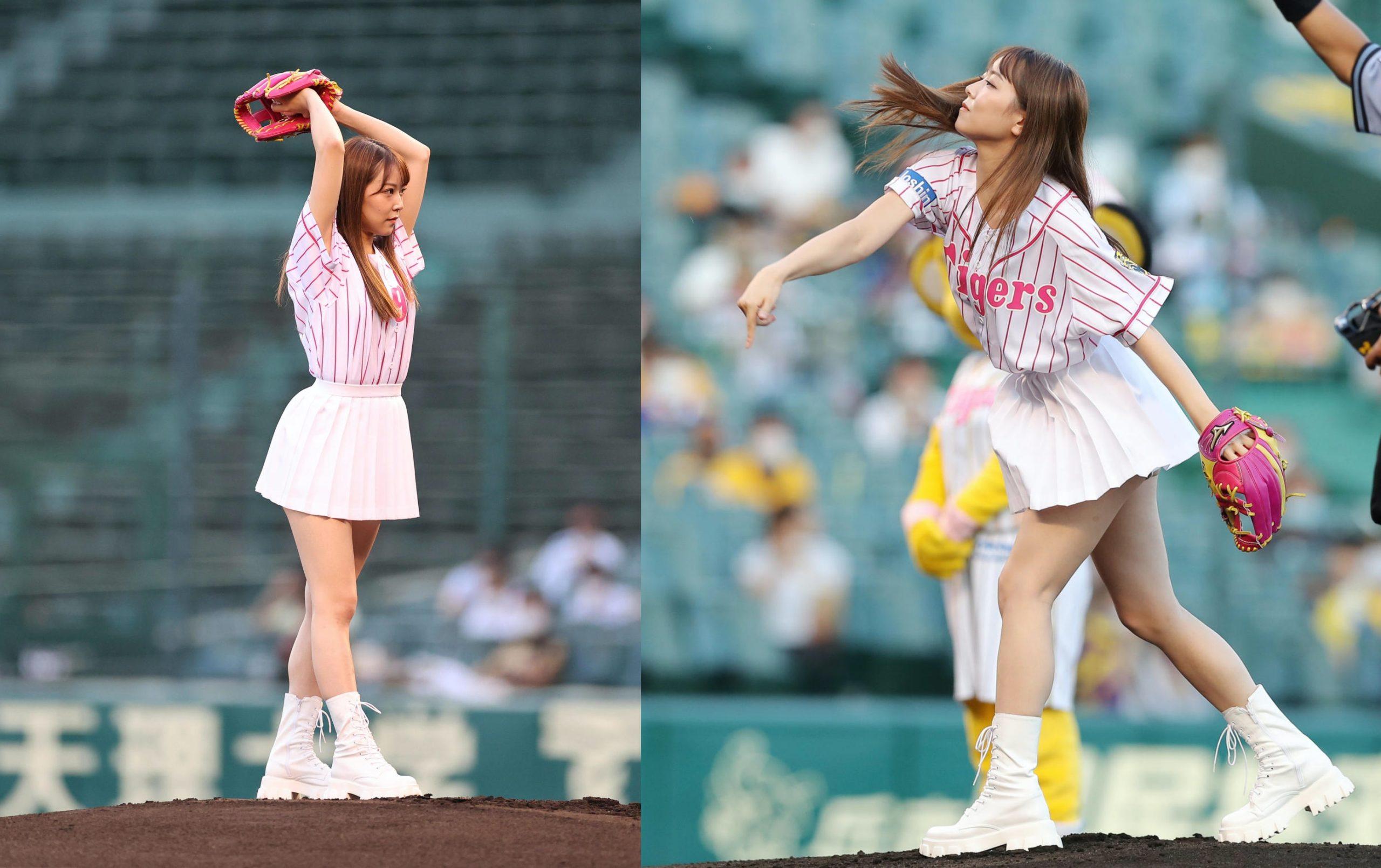【白間美瑠】みるるんが参加した8/26阪神vs中日の始球式の画像と動画など