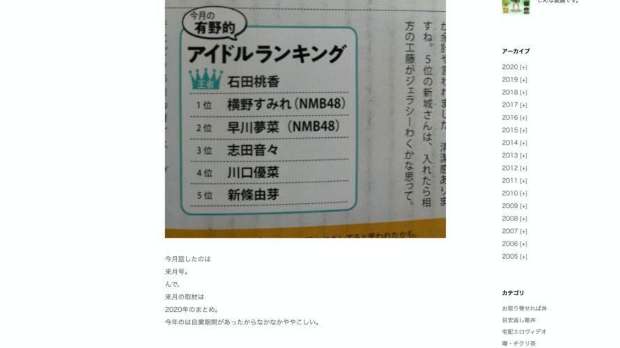 【早川夢菜】よゐこ・有野さんのアイドルランキングにゆななんがランクイン